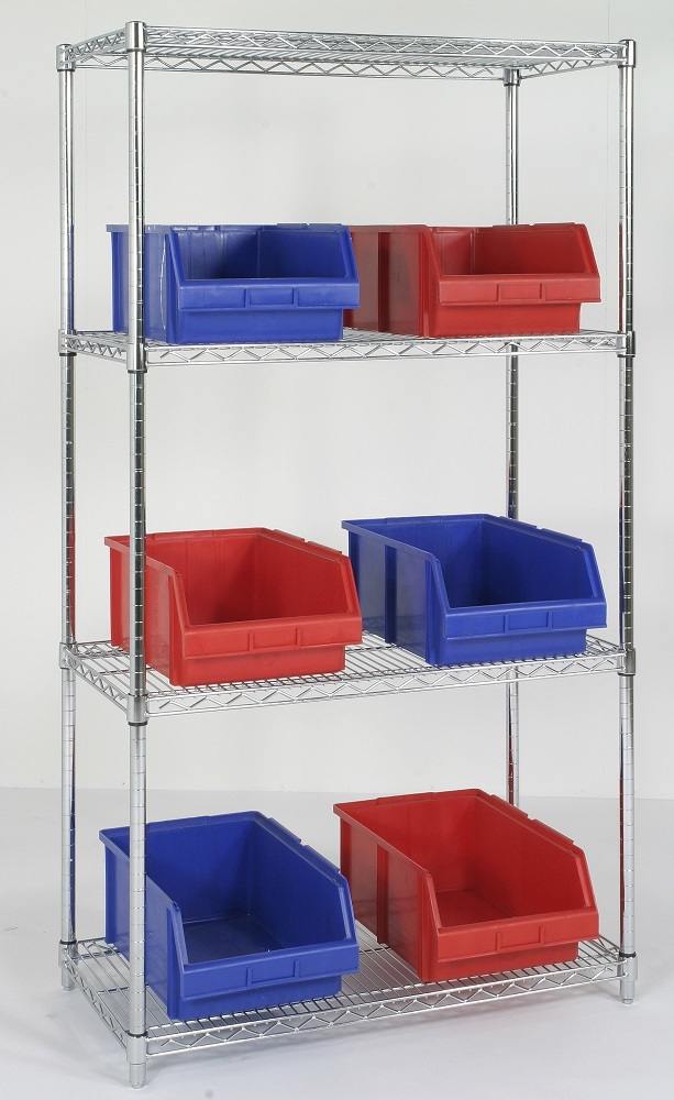huge discount aa7b5 6524d Four Tier Chrome Wire Shelving Unit 24 Inch High - 4 Shelves 18 x 36 Inch