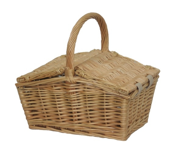 Small Double Lidded Willow Hand Crafted Storage Hamper