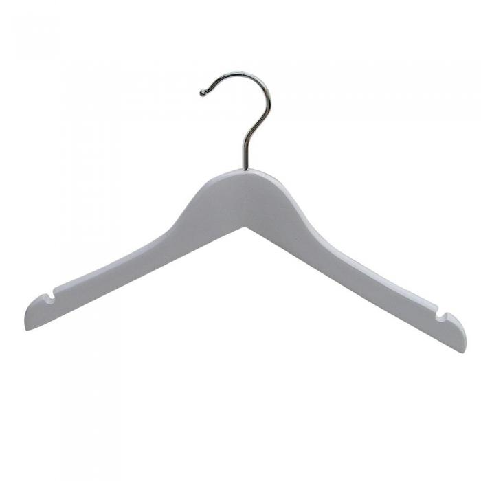 Wooden Baby White Jacket Wishbone Hangers 28cm Box Of 50