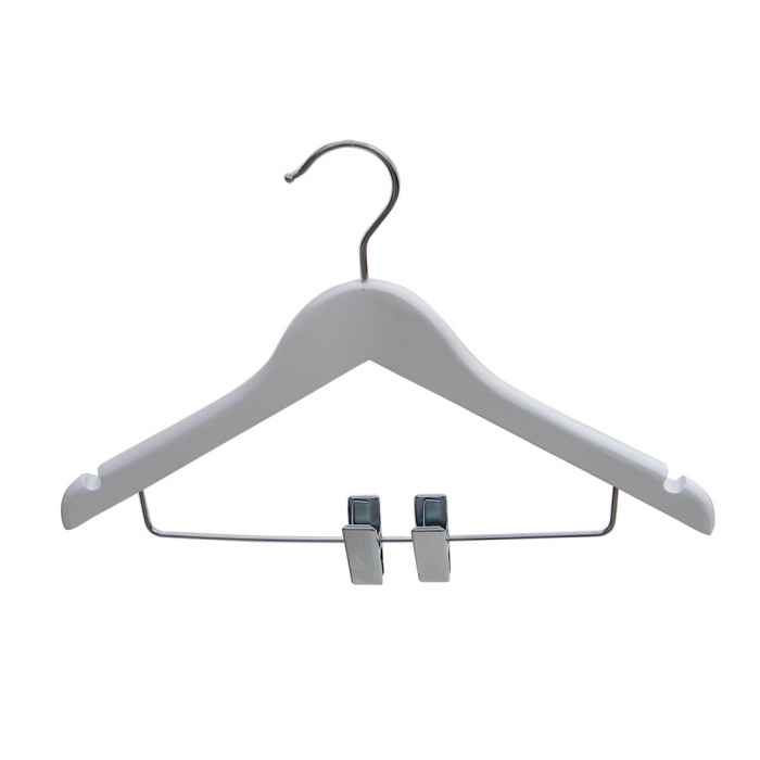 Wooden Baby White Wishbone Hangers With Clips 28cm Box Of 50