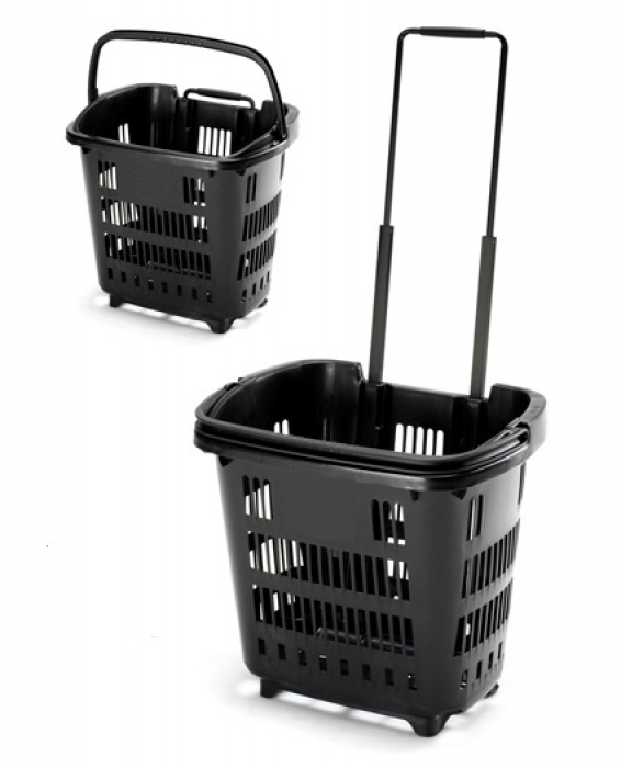 34 Litre Shopping Basket On Wheels Pull Along Trolley