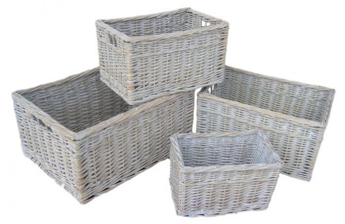 White Storage Baskets Lined Storage Baskets