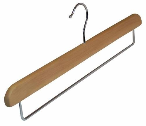 Wooden Trouser Hangers With Non Slip Bar 39cm Box Of 100