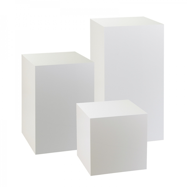 Set Of Three White Display Plinths For Sale Uk