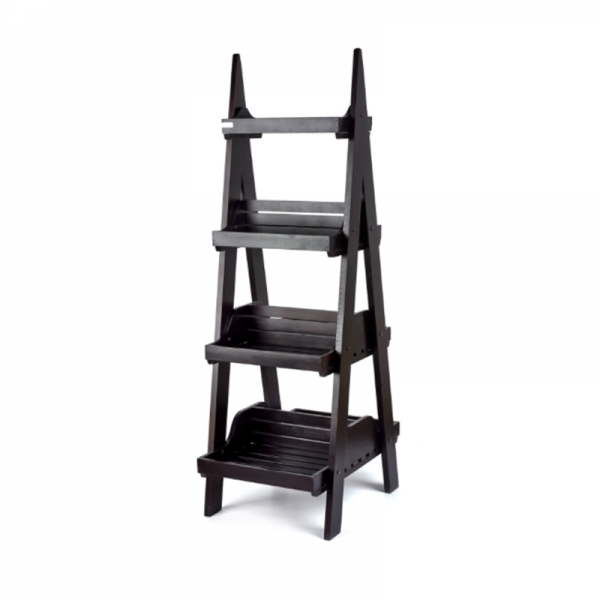 Double Sided Dark 4 Tier Display Stand