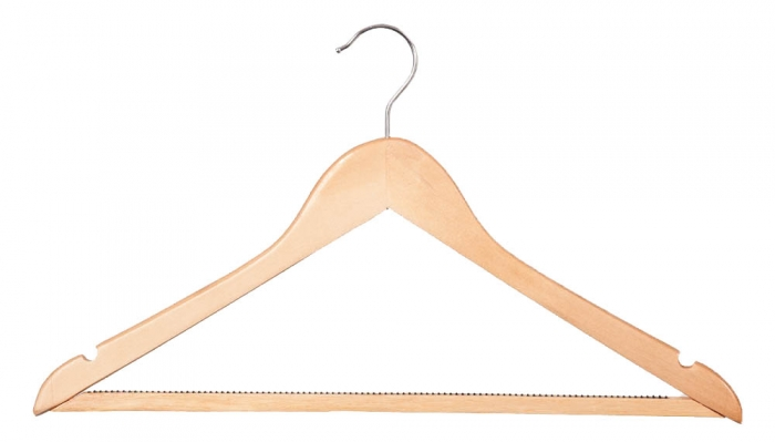 Wooden wishbone hangers with non slip centre bar box of
