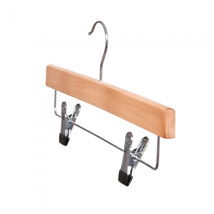 straight wooden trouser hangers with clips 36cm box of 100