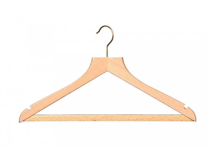 Wooden wishbone hangers with non slip trouser bar fsc
