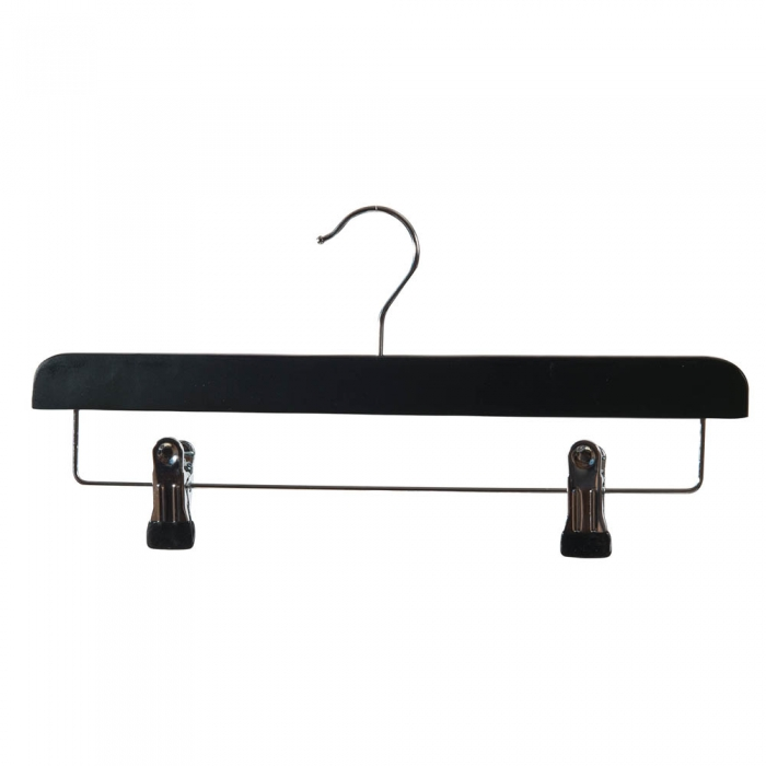 Black Matt Straight Wooden Hangers With Clips Box Of 100