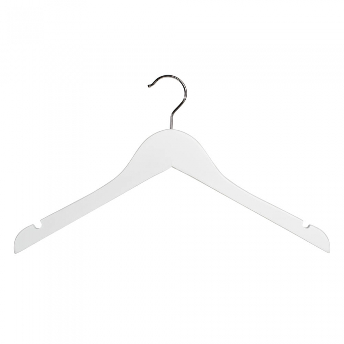 Wooden white top hangers 40cm box of 100 White wooden coat hooks